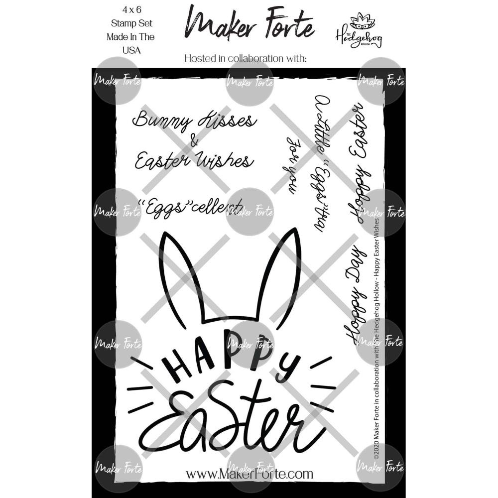 Maker Forte Clear Stamps By Hedgehog Hollow 4X6 Happy Easter Wishes