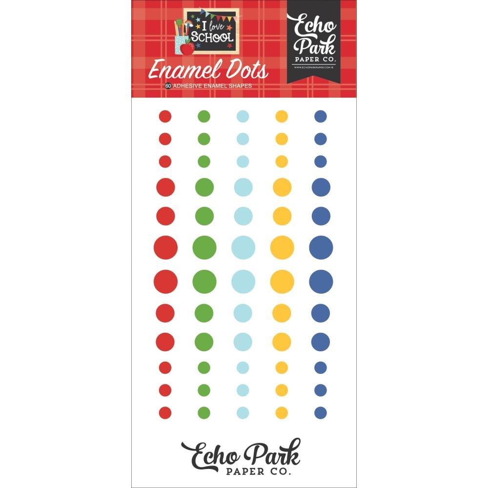 Echo Park Adhesive Enamel Dots 60/Pkg-I Love School