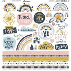 Reminisce Custom Cardstock Stickers 12X12-Be Kind