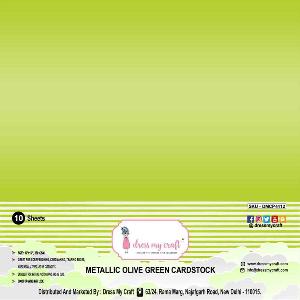Dress My Craft Smooth Cardstock 250gsm 12X12 10/Pkg-Metallic Olive Green