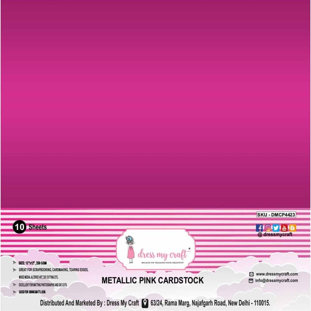 Dress My Craft Smooth Cardstock 250gsm 12X12 10/Pkg-Metallic Pink