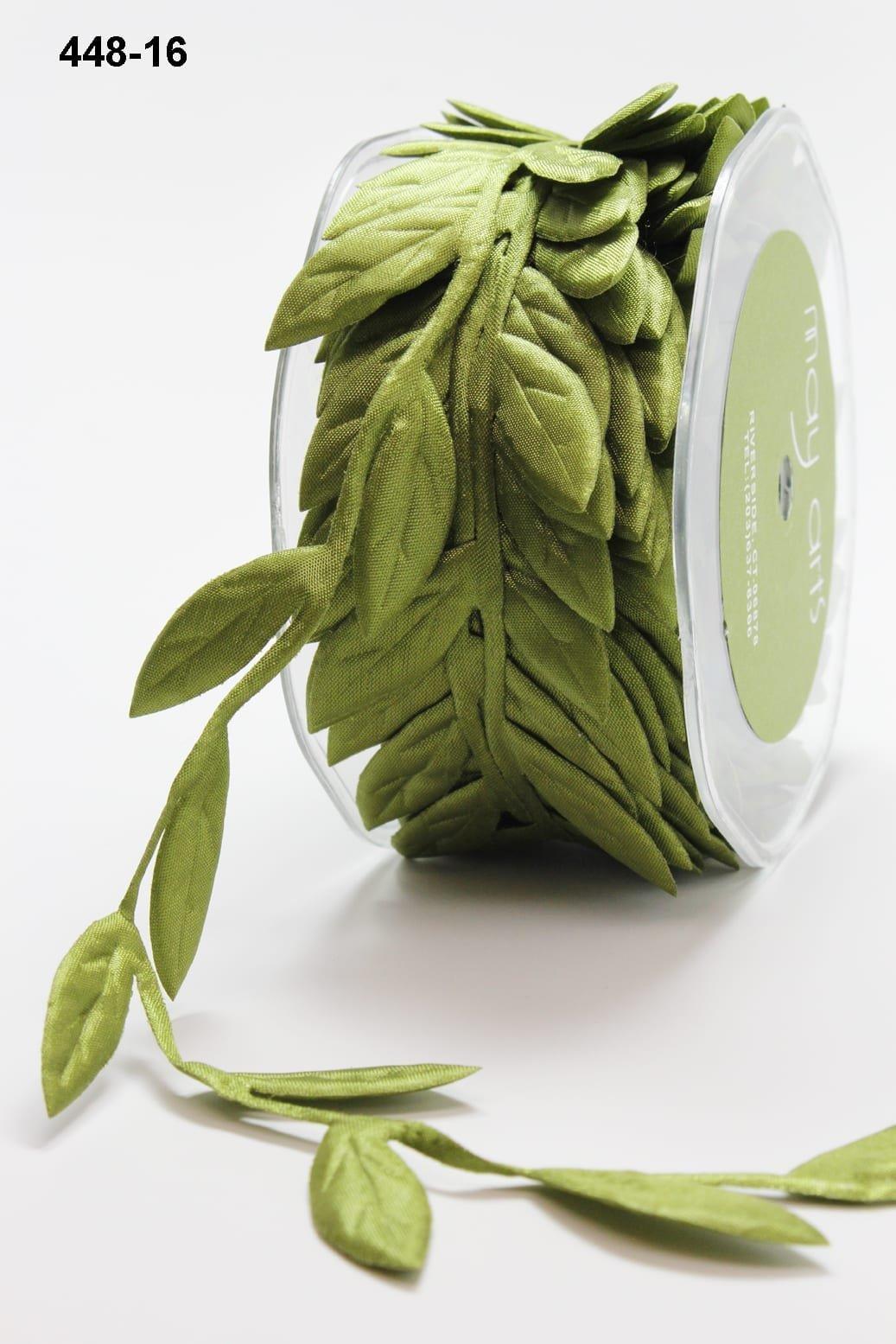 1.5 Inch Jumbo Puffy Leaves Ribbon Olive