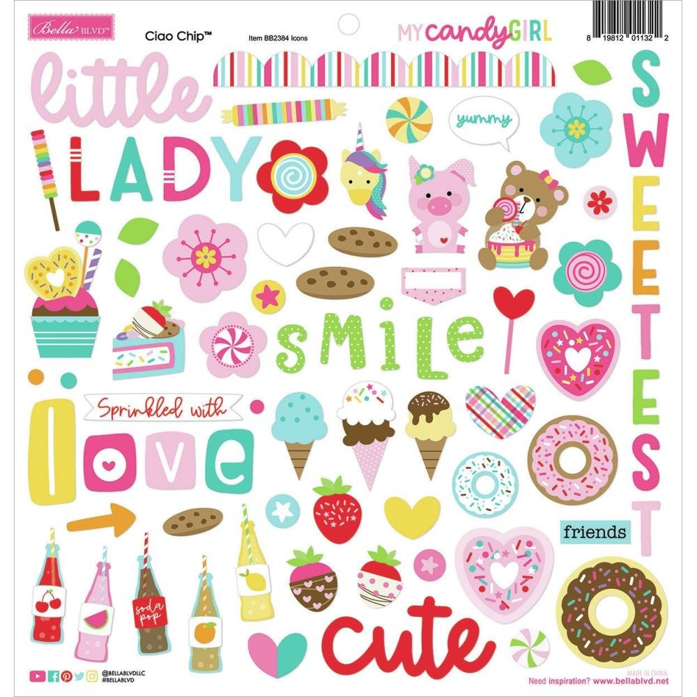Bella Blvd Chipboard Stickers 12X12-Icons, My Candy Girl
