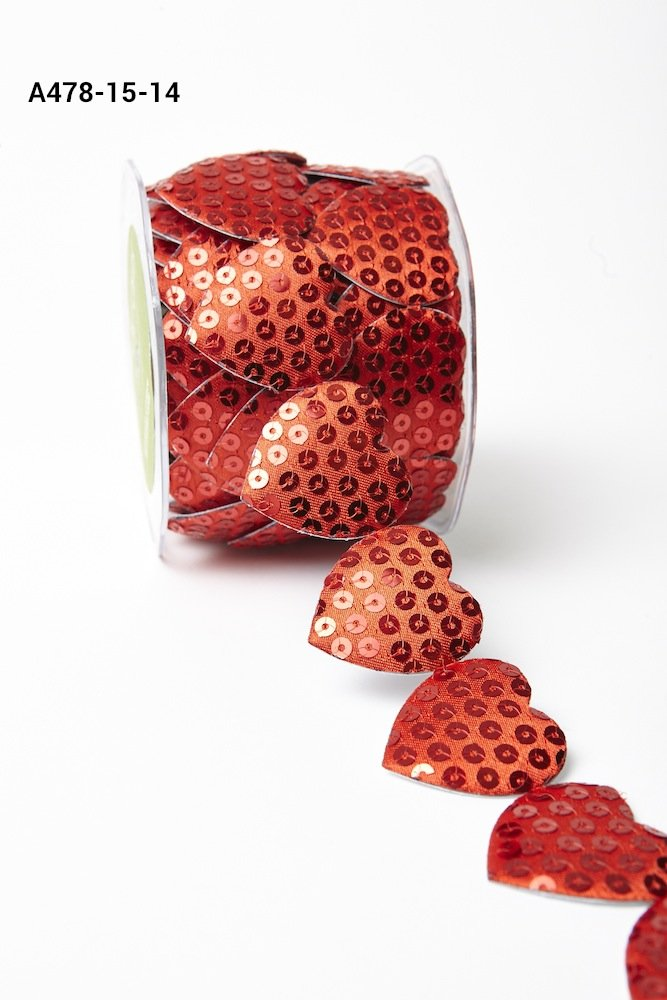 1.5 Adhesive Sequin Heart Red