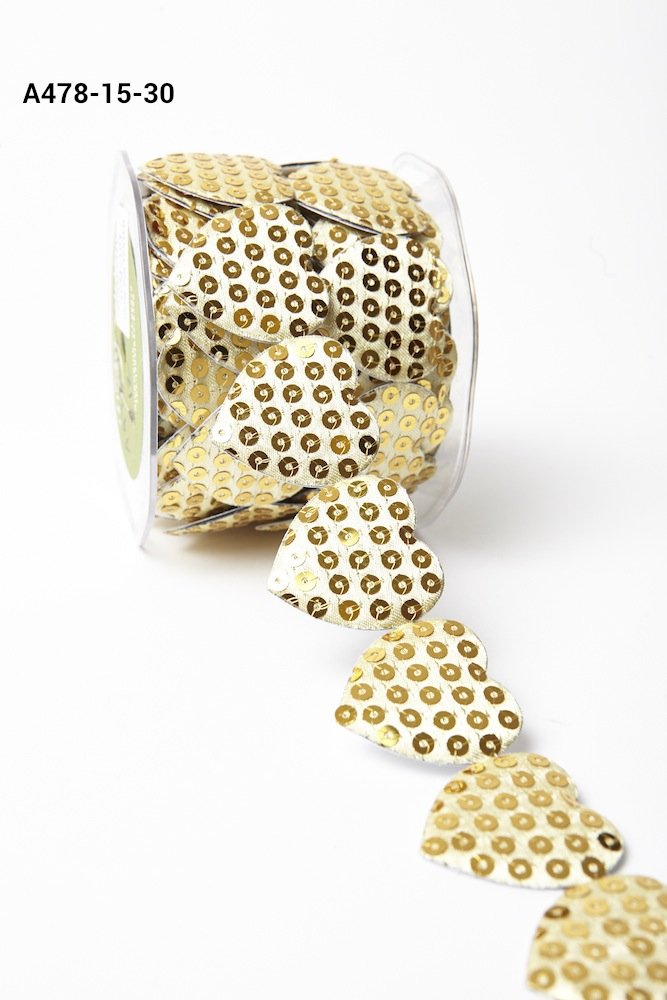 1.5 Adhesive Sequin Heart Gold