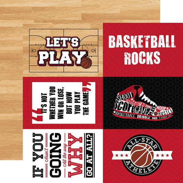 Echo Park Basketball Double-Sided Cardstock 12X12 4x6 Journaling Cards