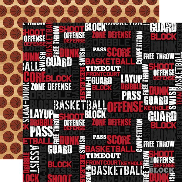 Echo Park Basketball Double-Sided Cardstock 12X12 Basketball Words