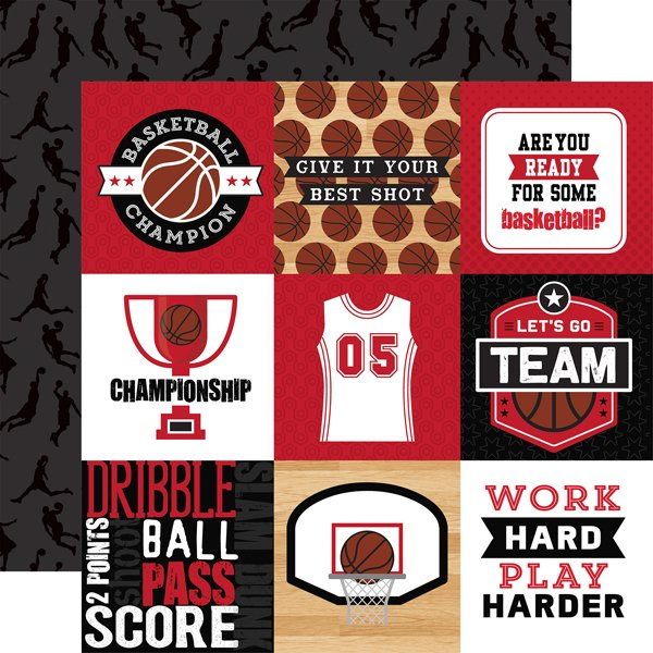 Echo Park Basketball Double-Sided Cardstock 12X12 4x4 Journaling Cards