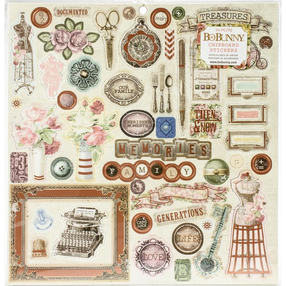 Family Heirlooms Chipboard Stickers 12X12-W/Copper Foil Accents