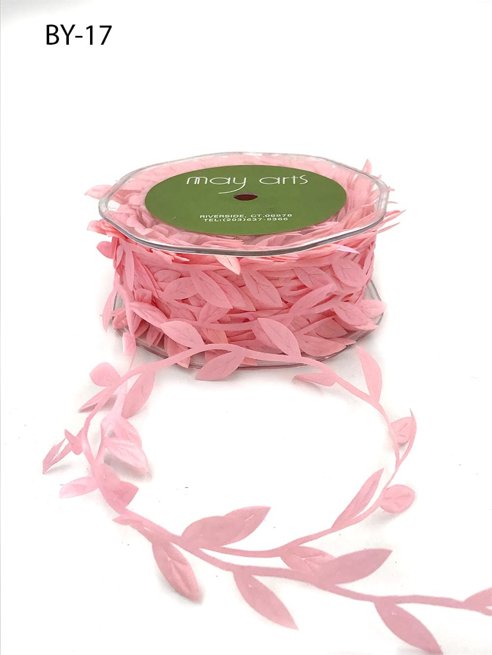 3/4 Inch Classic Leaves Ribbon Pink
