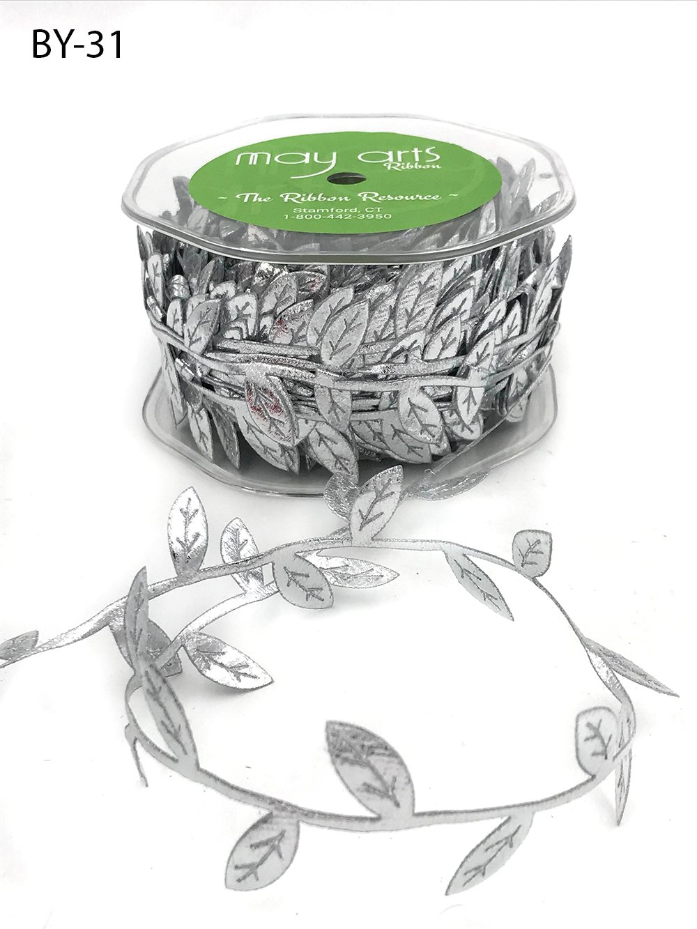 3/4 Inch Classic Leaves Ribbon Silver