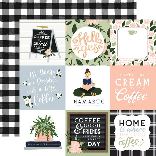 Echo Park Coffee & Friends Double-Sided Cardstock 12X12 4X4 Journaling Cards