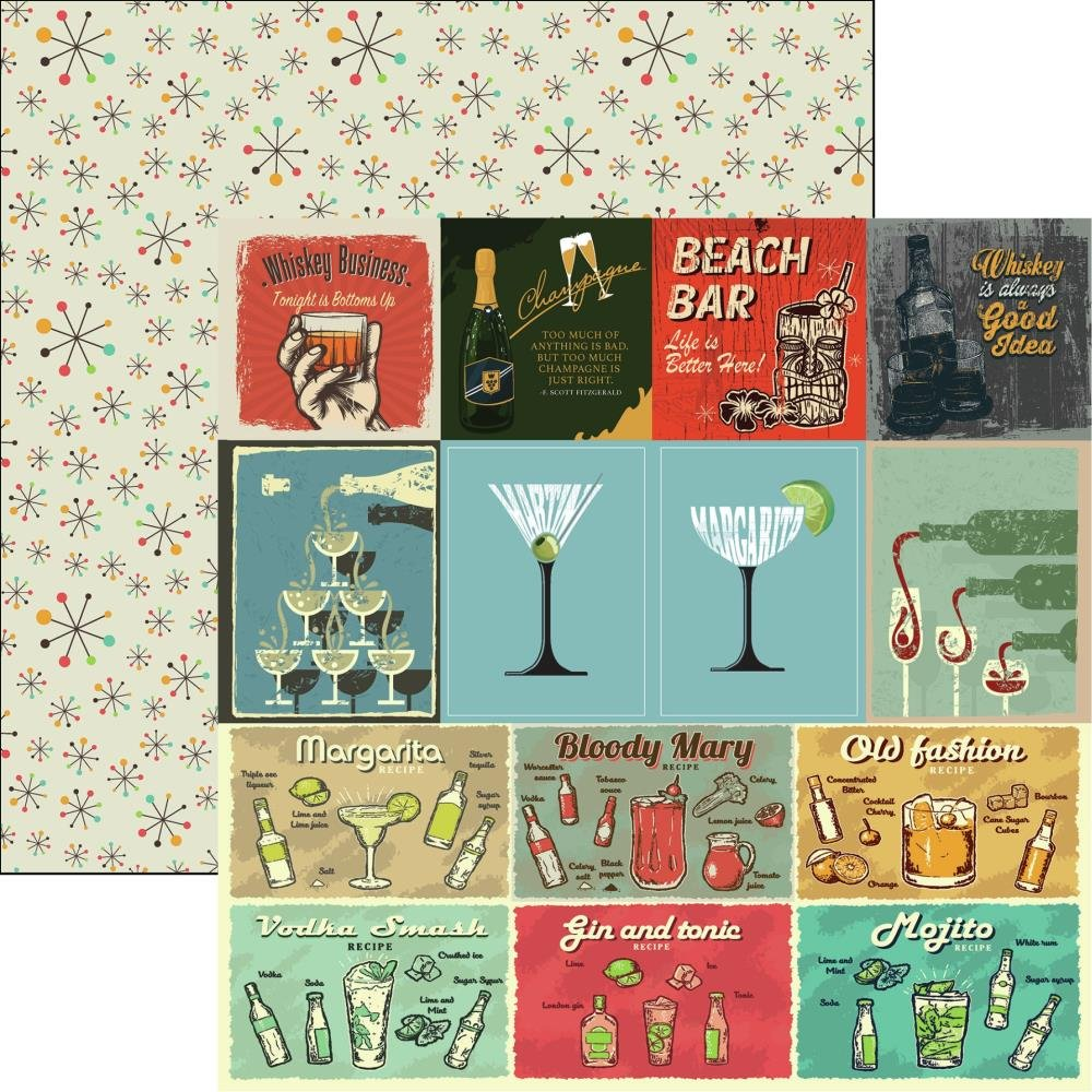 Happy Hour Double-Sided Cardstock 12X12-Cocktails & Dreams
