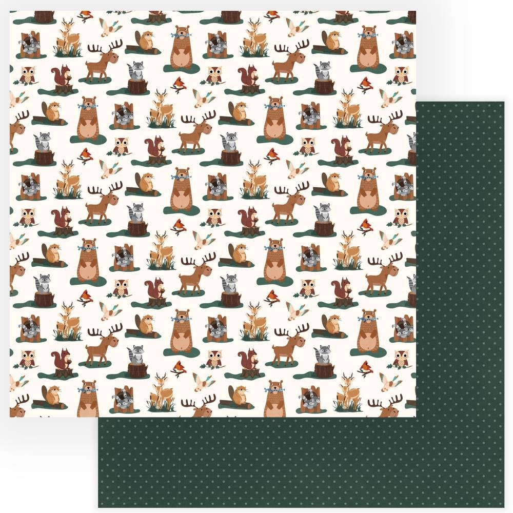 Camp Happy Bear Double-Sided Cardstock 12X12-Forest Friends