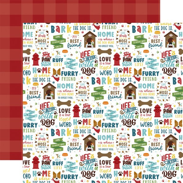 Echo Park My Dog Double-Sided Cardstock 12X12 Stay Paws-itive