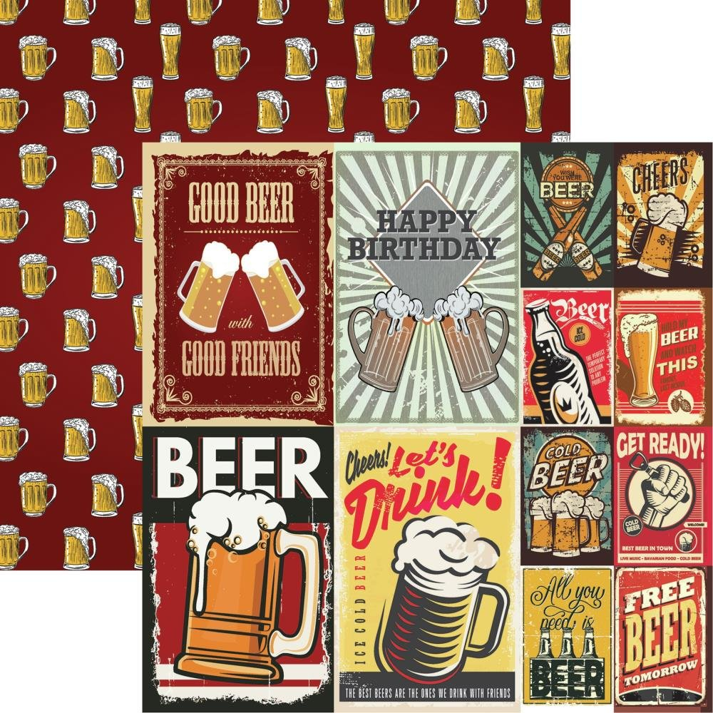 Happy Hour Double-Sided Cardstock 12X12-More Beer