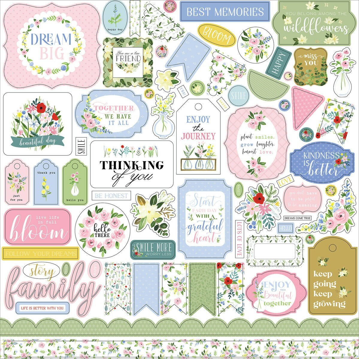 Flora No. 4 Cardstock Stickers 12X12-Elements