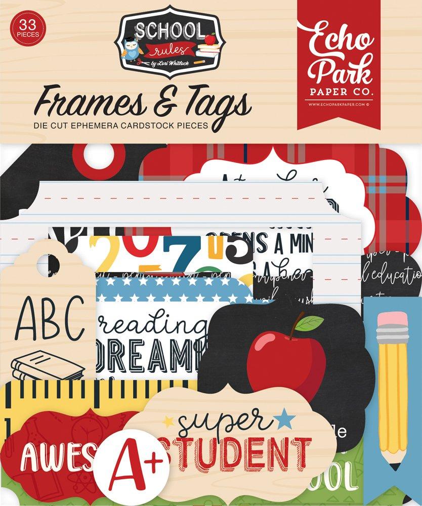 Echo Park Cardstock Ephemera 33/Pkg-Frames & Tags, School Rules