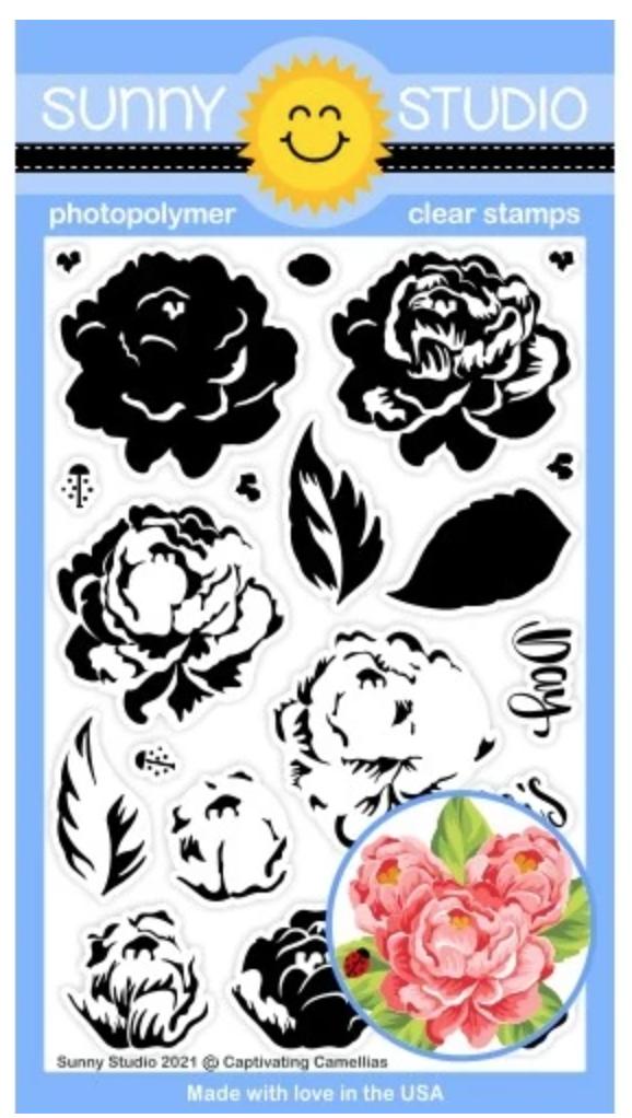 Sunny Studio Captivating Camellias Stamp