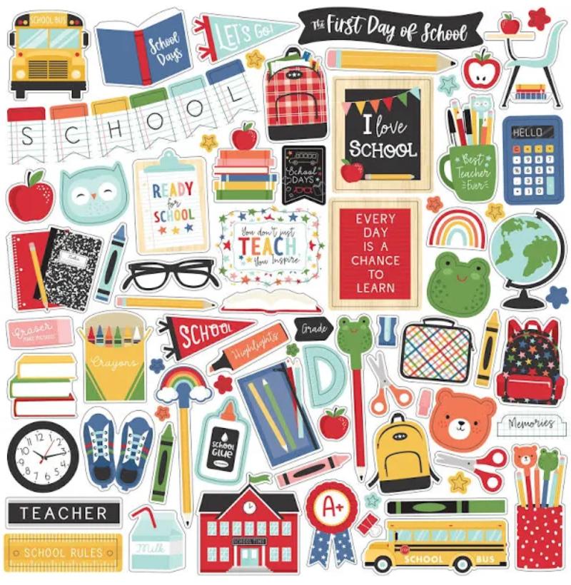 I Love School Cardstock Stickers 12X12-Elements