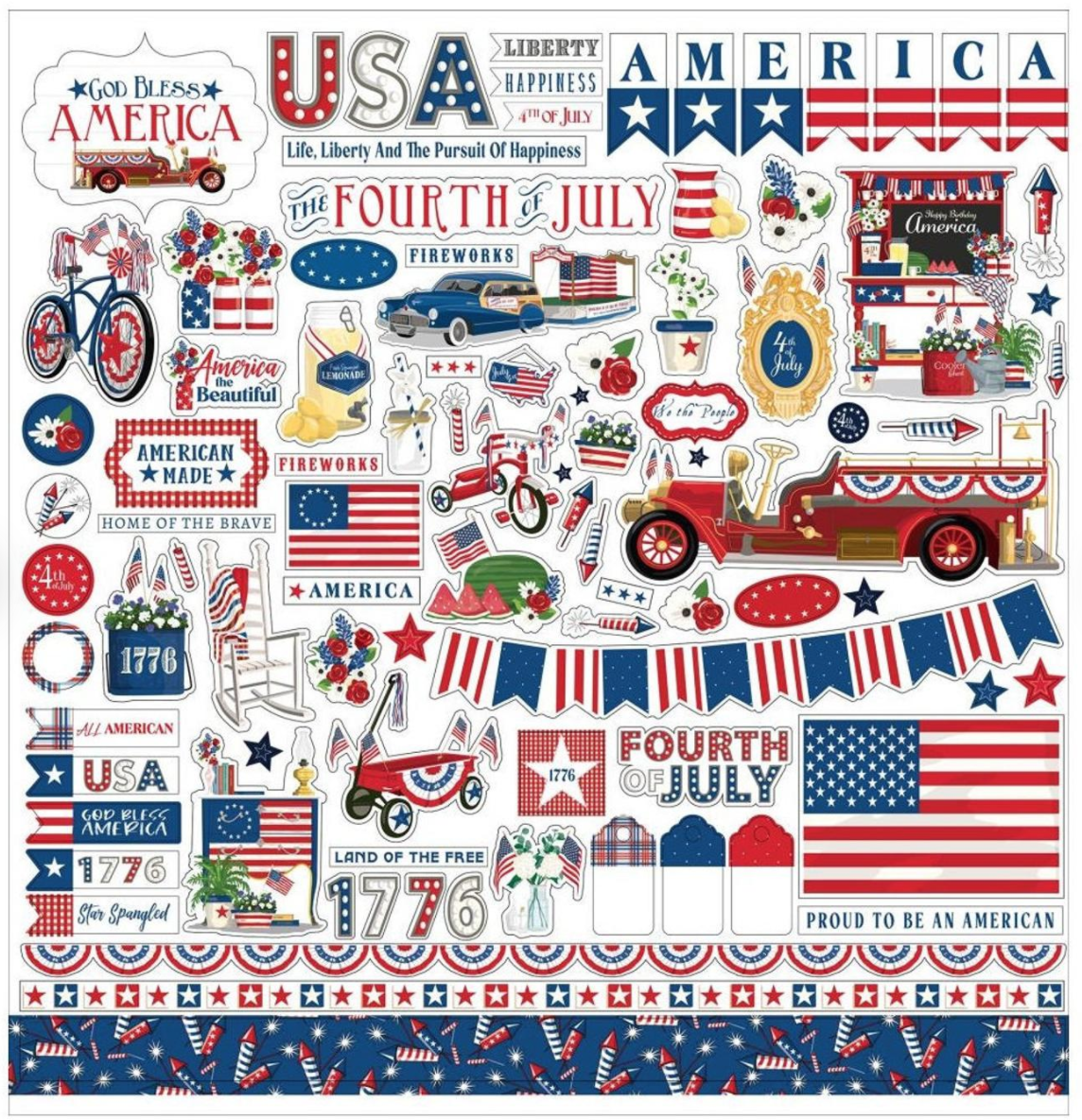 God Bless America Cardstock Stickers 12X12-Elements