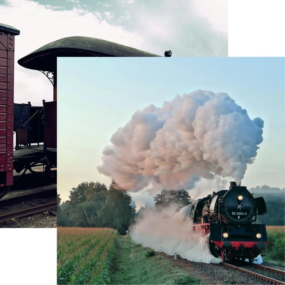 All Aboard Double-Sided Cardstock 12X12-Steam Power
