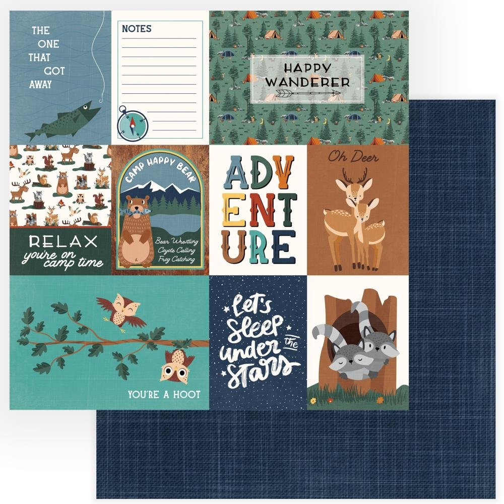 Camp Happy Bear Double-Sided Cardstock 12X12-Wanderer
