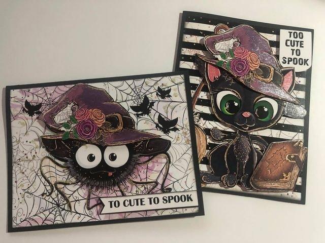 Halloween Cat two card set