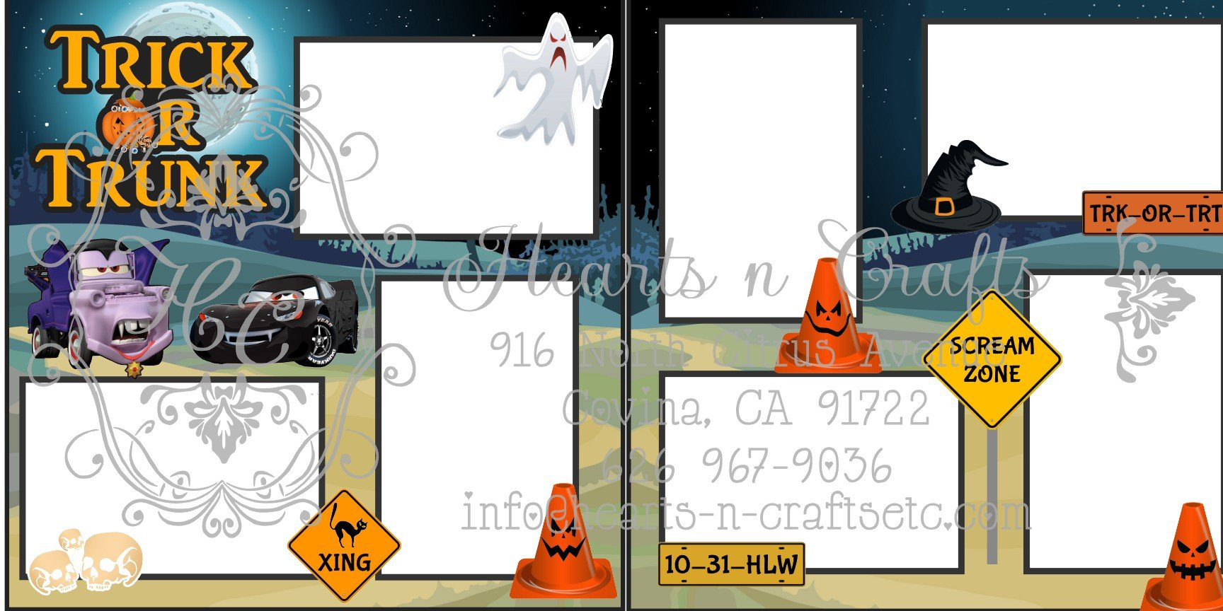 Cars Trick or Trunk 2 Page Layout
