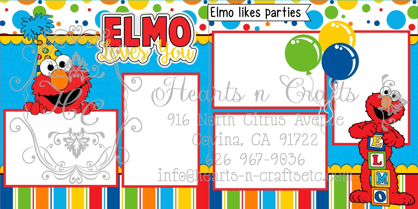 Elmo Loves You 2 Page Layout