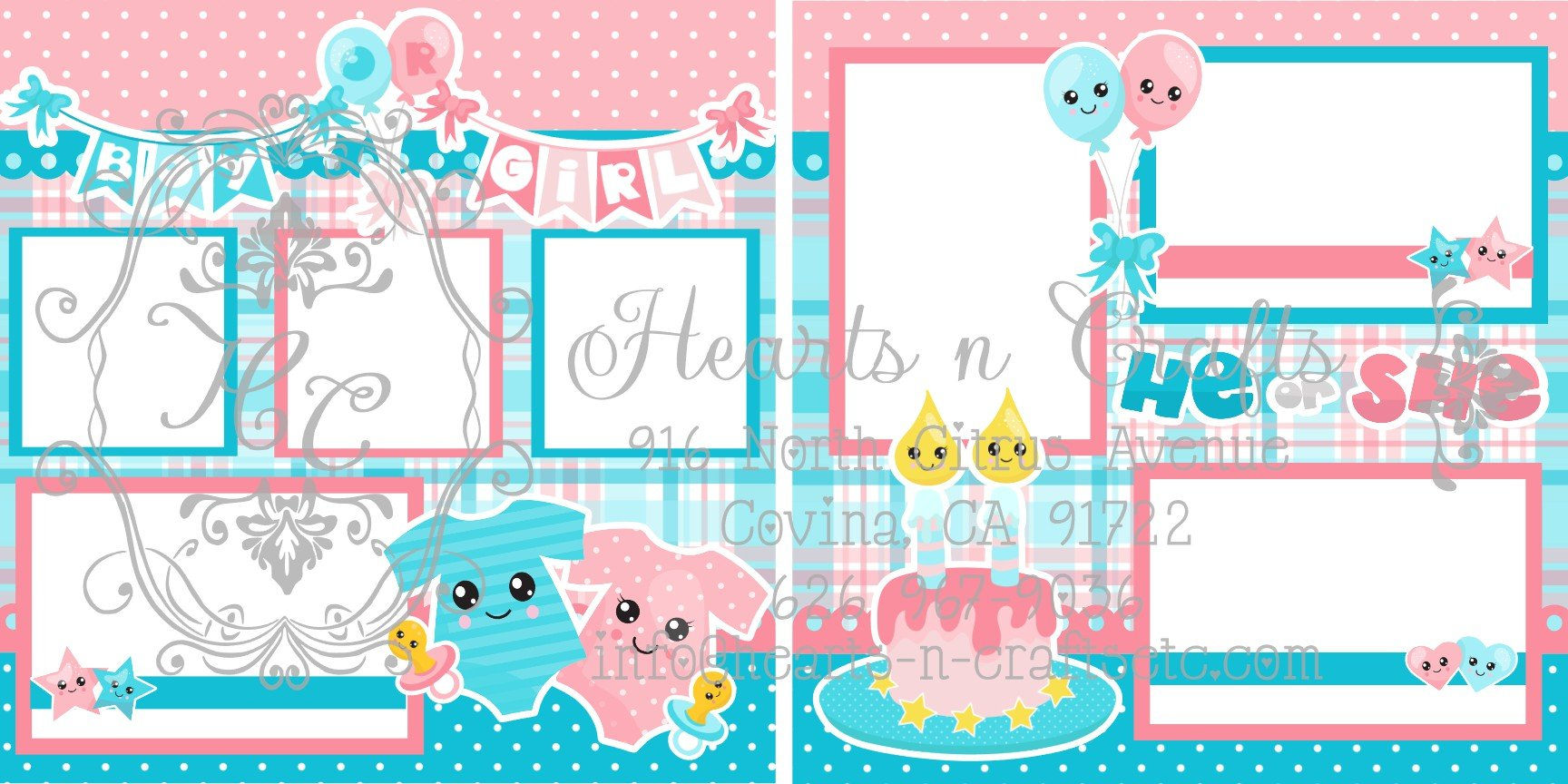 Gender Reveal 2 Page Layout