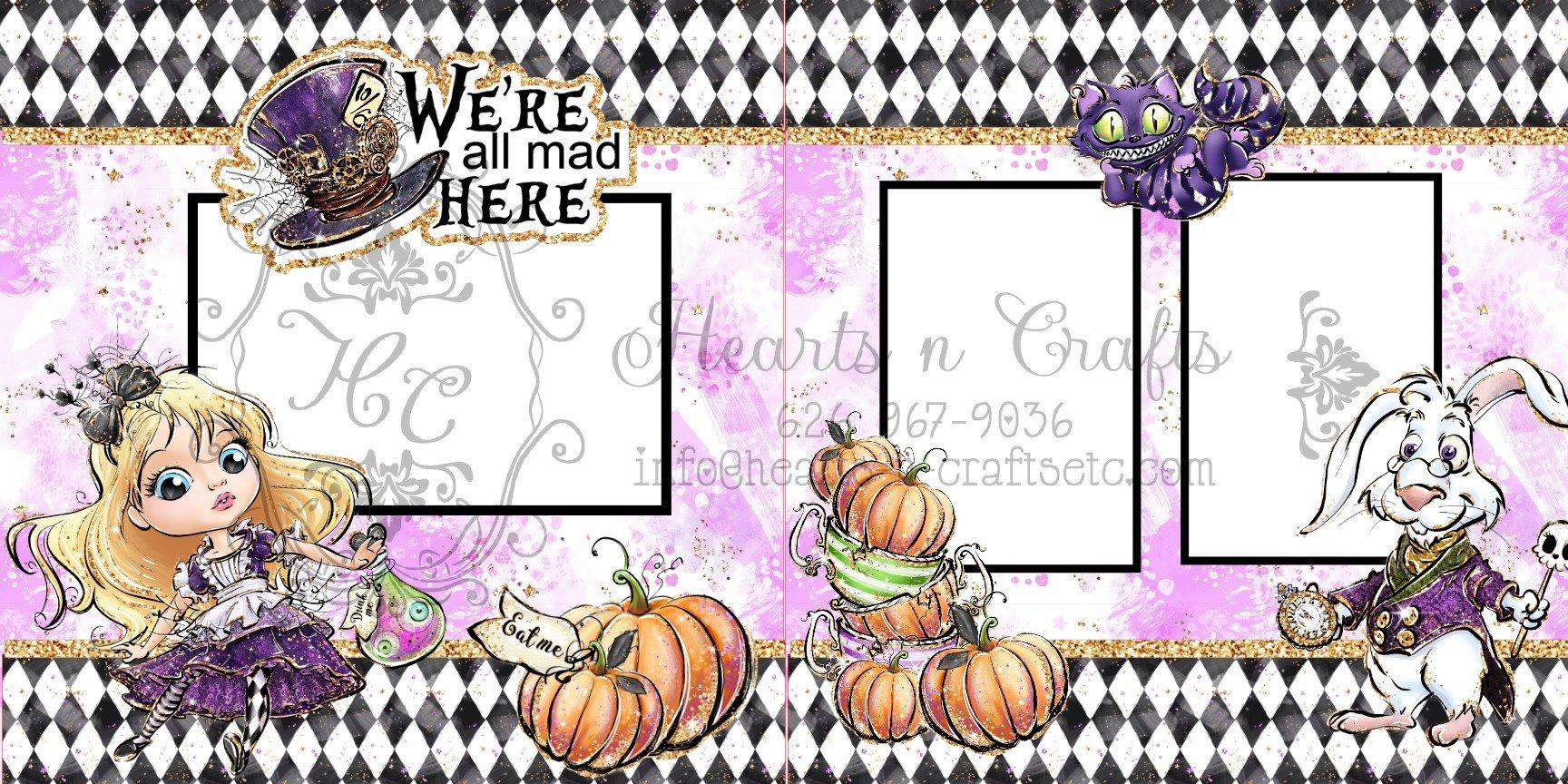 Alice in Wonderland Halloween 2 page Layout
