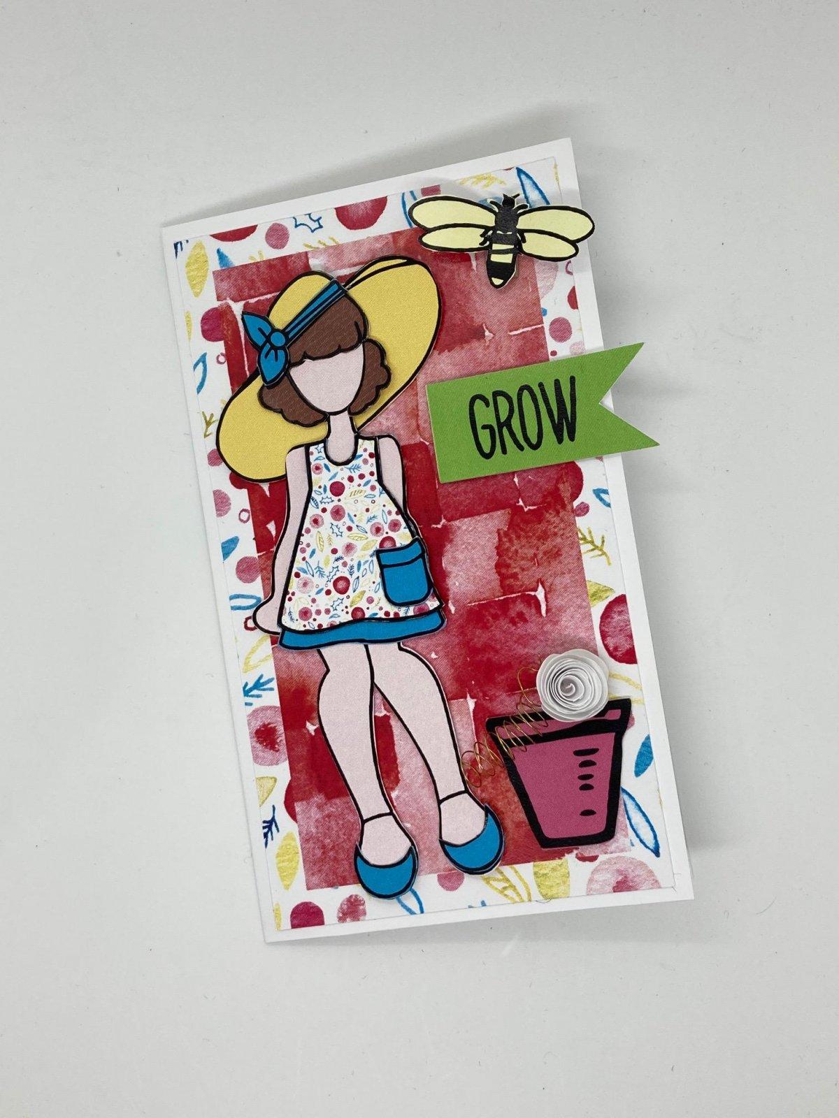 Julie Nutting mini slimline card kit - Garden Girl