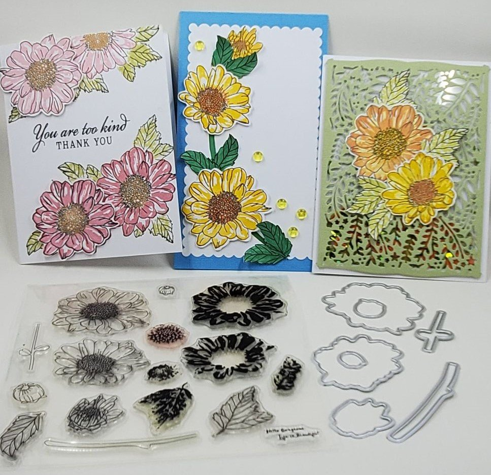 Flower and Leaf Stamp Set with FREE coordinating Dies