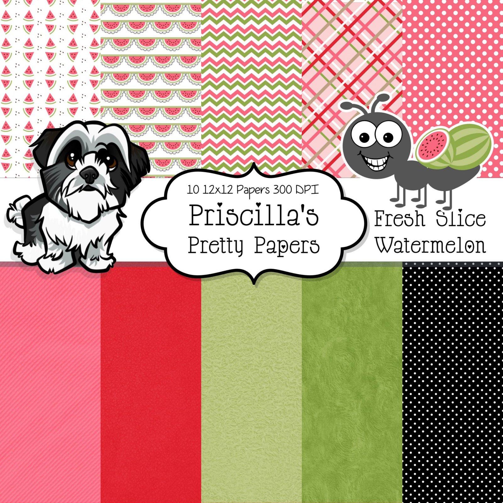 Fresh Slice - Watermelon digital paper and clipart