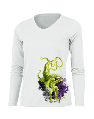 Sea Fear - Green Octopus L/S V-Neck Performance Tee