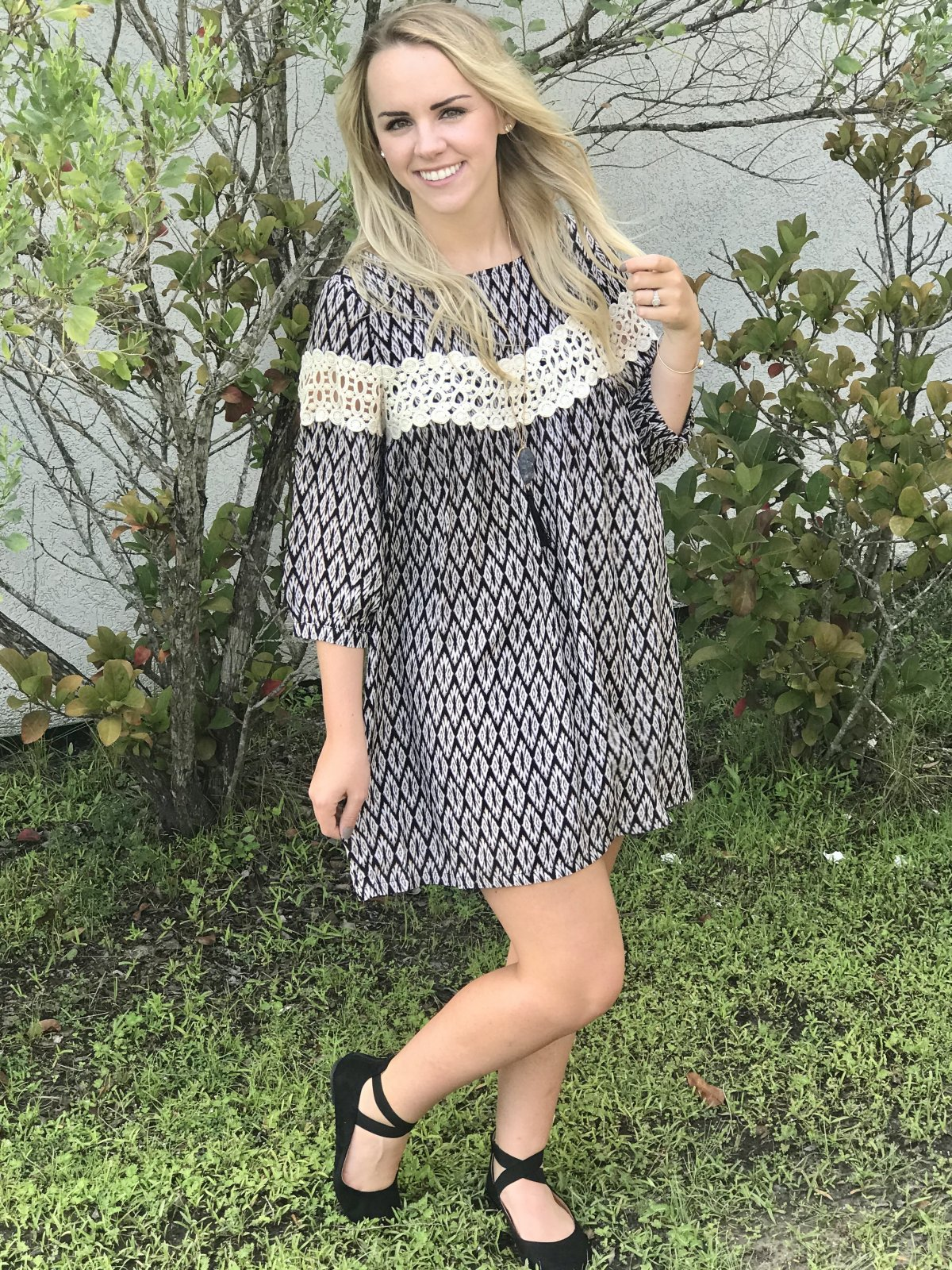 Printed Shift Dress with Lace