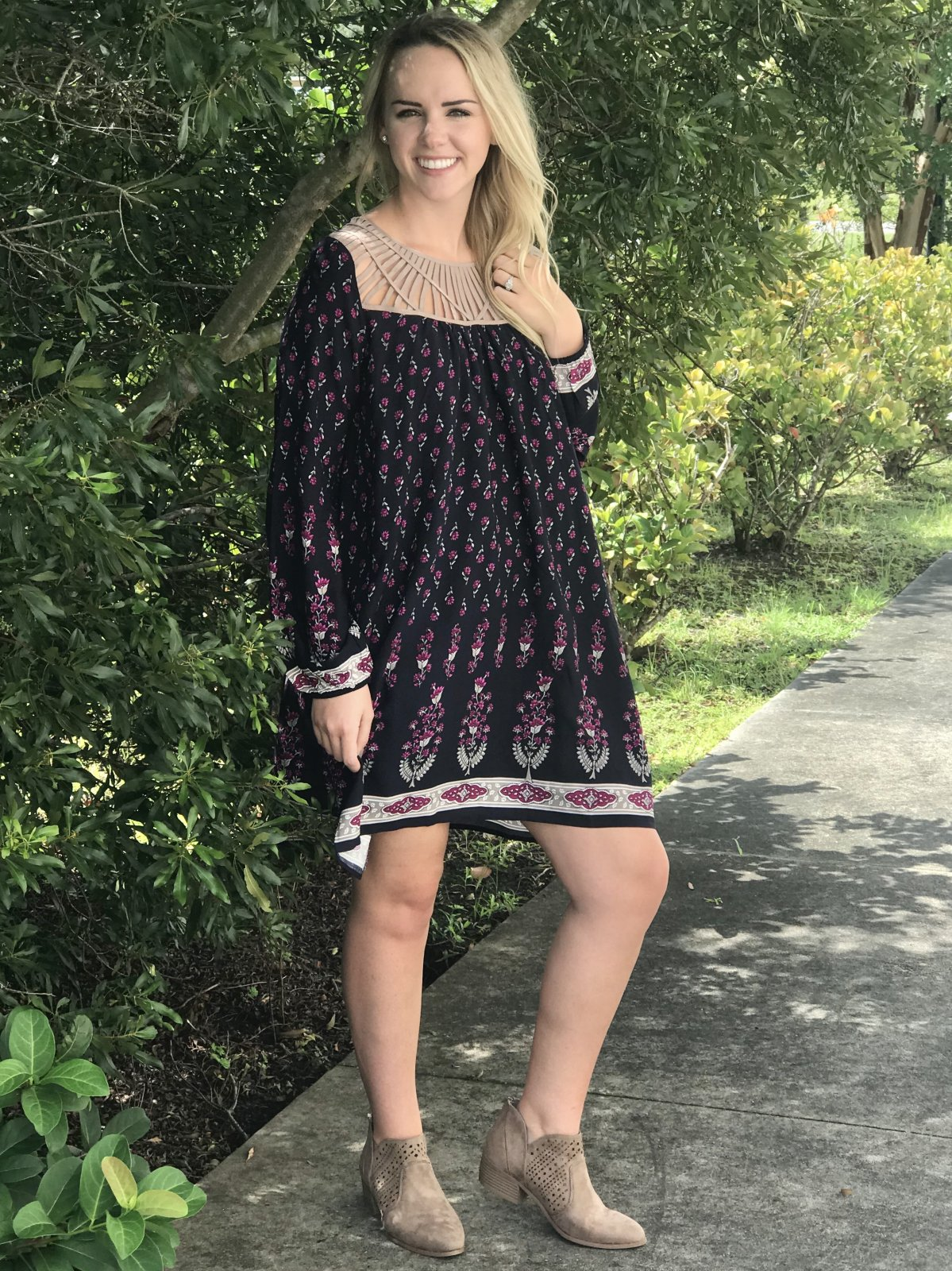 Printed Navy Babydoll Dress