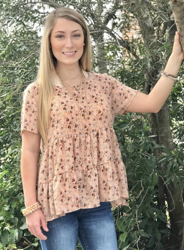 Peach Floral Babydoll Top