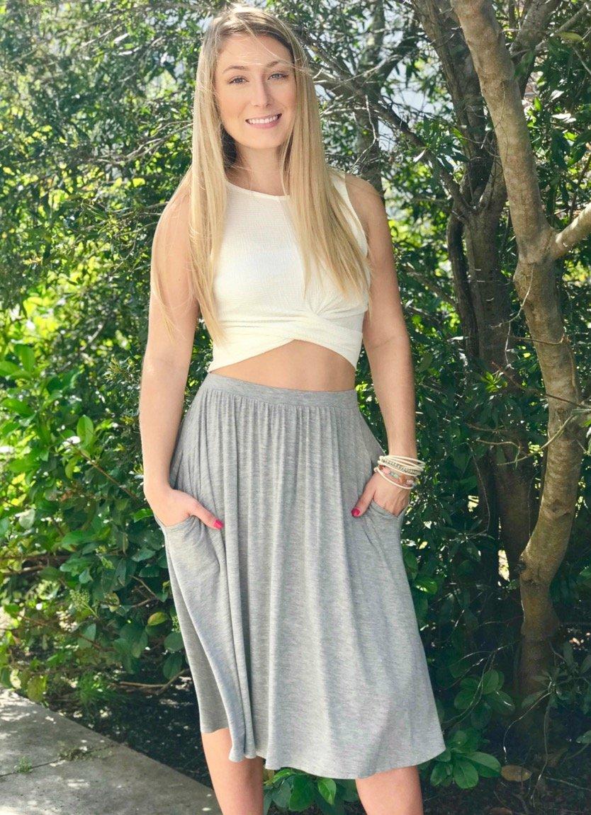 Grey Cotton Tea Skirt