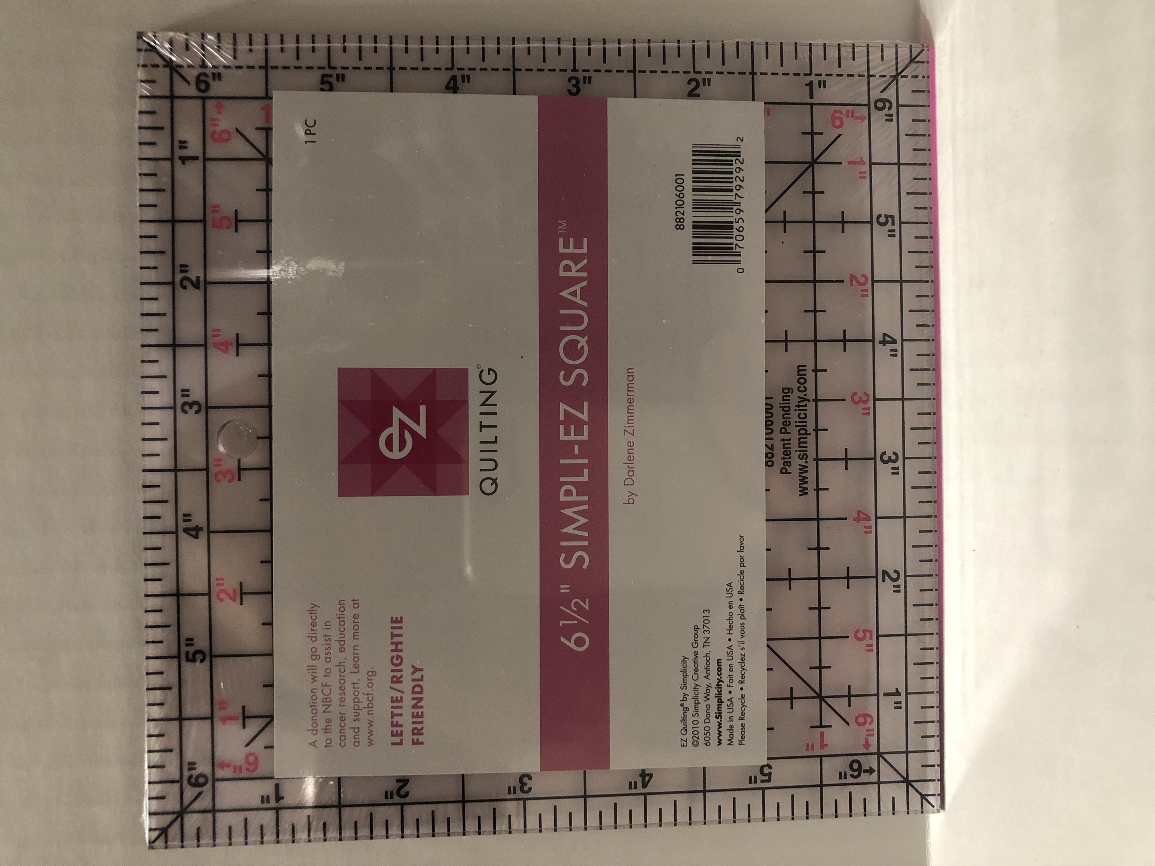 PINK Simpli-EZ Square 6-1/2 Ruler by Darlene Zimmerman