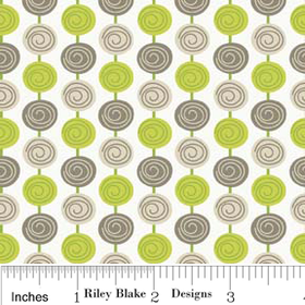 Alphabet Soup - Green Beads Fabric