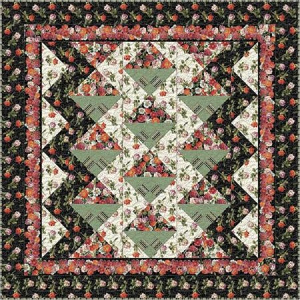 Lovely Floral Garden View Queen Quilt Kit 99 x 99