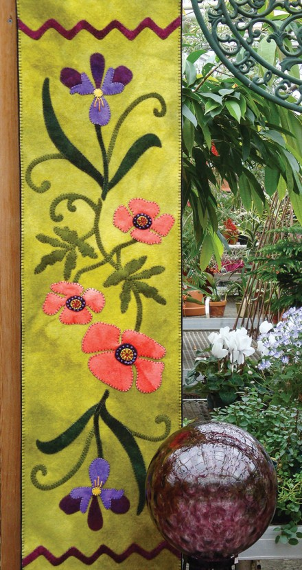 Poppies and Iris Wool Applique Runner Pattern