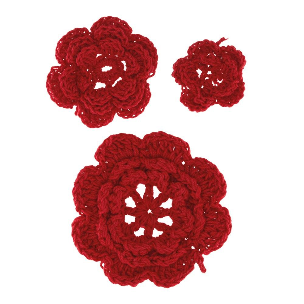 Red Crocheted Flowers