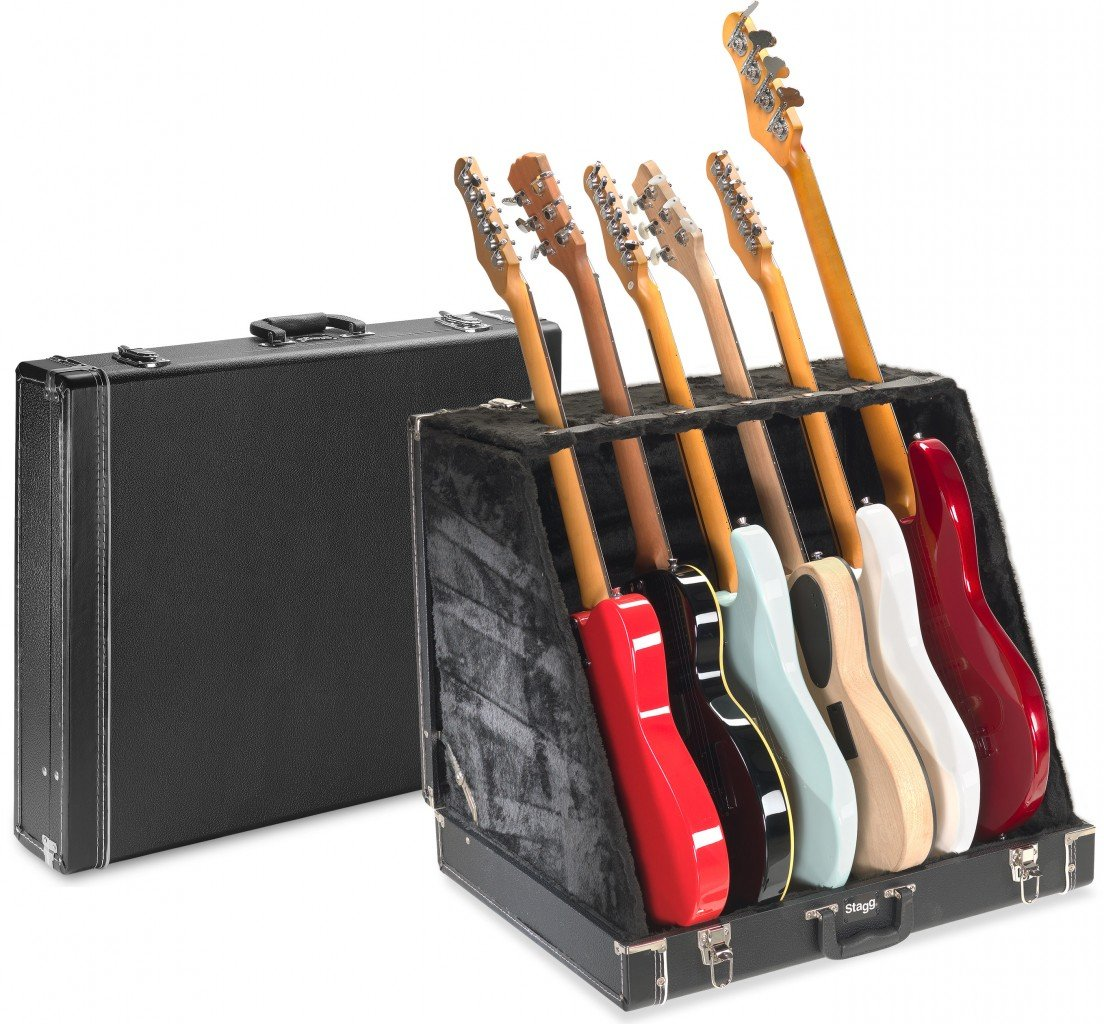 STAGG GDC-6 GUITAR CASE HOLDS 6 ELECTRIC OR 3 ACOUSTIC