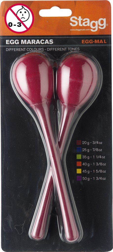 STAGG EGG-MA L/RD EGG MARACAS WITH HANDLES - PAIR (RED)