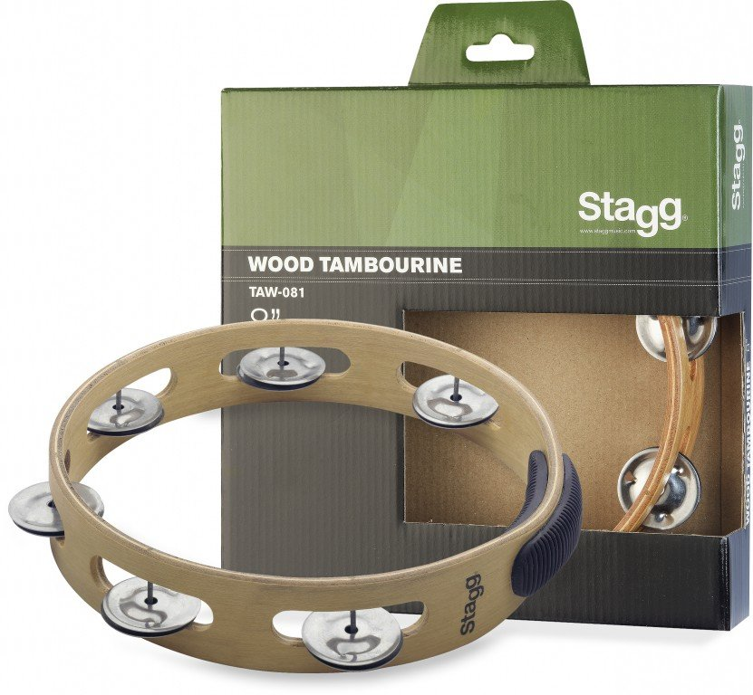 STAGG TAW-081 TAMBOURINE 8 SINGLE ROW WOODEN W/GRIP
