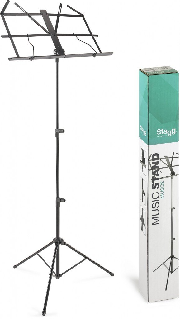 STAGG MUSQ2 MUSIC STAND FOLDING W/BAG BLACK