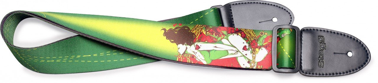 STAGG GUITAR STRAP STE PINUP GREEN TERYLENE PINUP GREEN